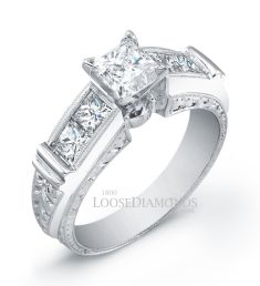 14k White Gold Vintage Style Diamond Engagement Ring