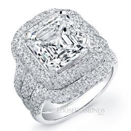 14k White Gold Vintage Style Diamond Halo Wedding Set