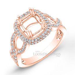 18k Rose Gold Modern Style Engraved Twisted Shank Diamond Halo Engagement Ring