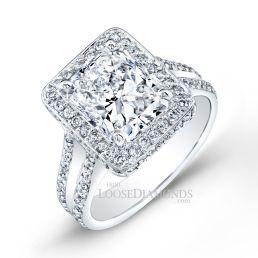 14k White Gold Modern Style Split Shank Diamond Halo Engagement Ring