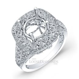 14k White Gold Vintage Style Diamonds Engagement Ring