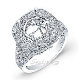 18k White Gold Vintage Style Diamonds Engagement Ring