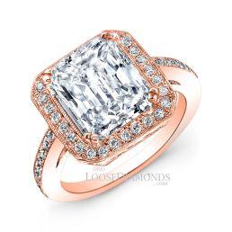 18k Rose Gold Vintage Style Diamond Engagement Ring
