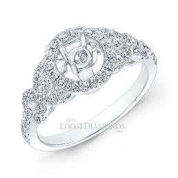 14k White Gold Modern Style Diamond Halo Engagement Ring