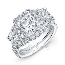 14k White Gold Modern Style Diamond Engagement Ring