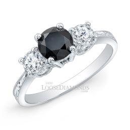 14k White Gold Modern Style 3-Stone Engraved Diamond Engagement Ring