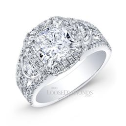 14k White Gold Modern Style Half Moon Diamond Halo Engagement Ring