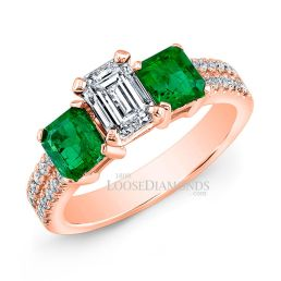 18k Rose Gold Classic Style Green Emerald & Diamond Engagement Ring