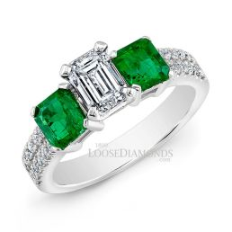 14k White Gold Classic Style Green Emerald & Diamond Engagement Ring
