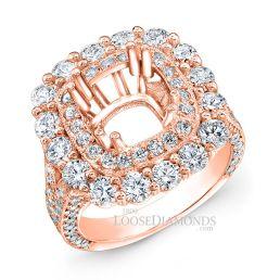 18k Rose Gold Vintage Style Halo & Hand Engraved Diamond Engagement Ring