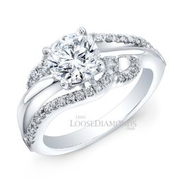 14k White Gold Art Deco Style Twisted Diamond Engagement Ring