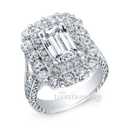 14k White Gold Vintage Style Double Halo Diamond Engagement Ring