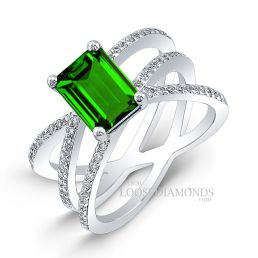 14k White Gold Art Deco Style Tri-Shank Diamond Engagement Ring