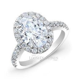 14k White Gold Modern Style Halo Diamond Engagement Ring