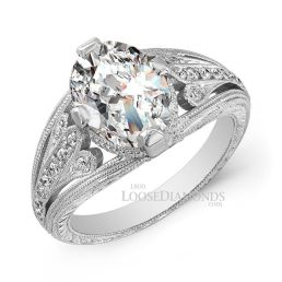 14k White Gold Vintage Art Deco Style Engraved Diamond Engagement Ring