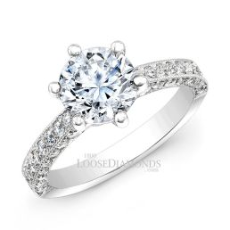 18k White Gold Classic Style Engraved Diamond Engagement Ring