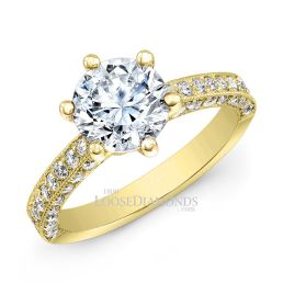 18k Yellow Gold Classic Style Engraved Diamond Engagement Ring