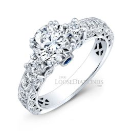 14k White Gold Vintage 3-Stone Engraved Diamond Engagement Ring
