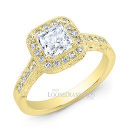 18k Yellow Gold Vintage Style Engraved Diamond Halo Engagement Ring