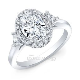 14k White Gold Modern Style 3-Stone Diamond Halo Engagement Ring