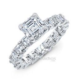 14k White Gold Modern Art Deco Style Asscher Cut Engagement Ring