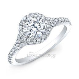 14k White Gold Modern Style Petite Diamond Halo Engagement Ring