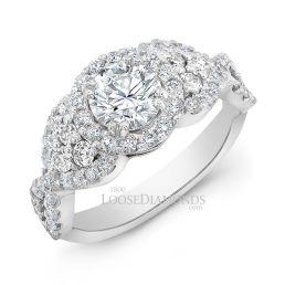 14k White Gold Modern Style Twisted Shank Diamond Halo Engagement