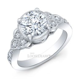 14k White Gold Vintage Style Engraved Diamond Halo Engagement Rings