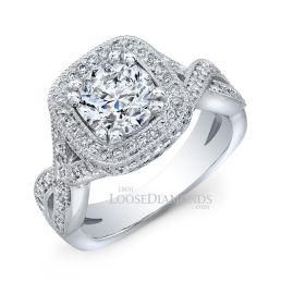 18k White Gold Twisted Shank Diamond Halo Engagement Ring
