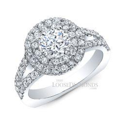 14k White Gold Classic Style Euro Shank Diamond Halo Engagement Ring