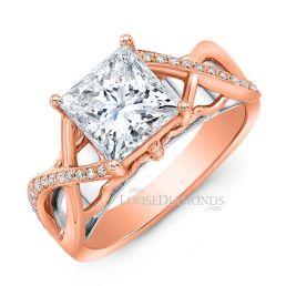 18k Rose Gold Art Deco Style Twisted Shank Diamond Engagement Ring