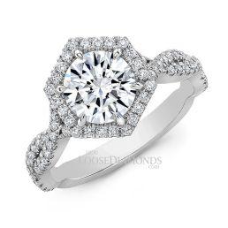 18k White Gold Art Deco Style Twisted Shank Hexagon Halo Diamond Engagement Ring