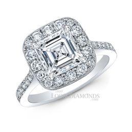 18k White Gold Vintage Style Diamond Halo Engagement Ring