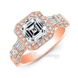 18k Rose Gold Vintage Style Hand Engraved Diamond Halo Engagement Ring