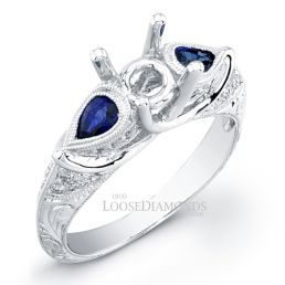 18k White Gold Vintage Style Engraved Sapphire Engagement Ring