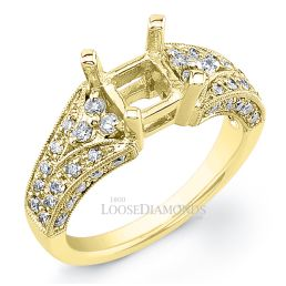 18k Yellow Gold Vintage Style Engraved Diamond Engagement Ring