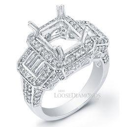14k White Gold Vintage Style Diamond Halo Engagement Ring