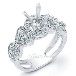 14k White Gold Art Deco Style Twisted Shank Diamond Halo Engagement Ring