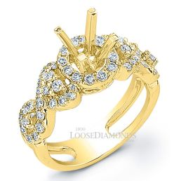 18k Yellow Gold Art Deco Style Twisted Shank Diamond Halo Engagement Ring