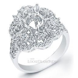 14k White Gold Art Deco Style Split Shank Diamond Engagement Ring