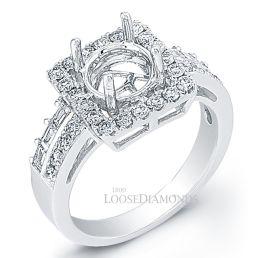 14k White Gold Art Deco Style Split Shank Diamond Halo Engagement Ring
