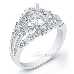 14k White Gold Art Deco Style Fancy Shape Diamond Engagement Ring