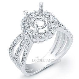 14k White Gold Modern Style Tri-Shank Diamond Halo Engagement Ring