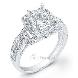 14k White Gold Modern Style Spilt Shank Diamond Halo Engagement Ring