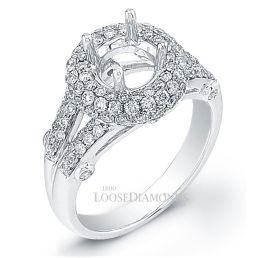 14k White Gold Classic Style Split Shank Diamond Halo Engagement Ring
