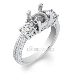 14k White Gold Vintage Style 3-Stone Engraved Diamond Engagement Ring