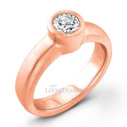 18k Rose Gold Modern Style Solitaire Engagement Ring