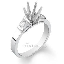 14k White Gold Classic Style Baguette Diamond Engagement Ring