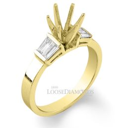 14k Yellow Gold Classic Style Baguette Diamond Engagement Ring