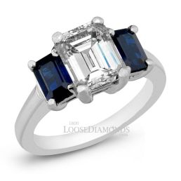 14k White Gold Classic Style 3-Stone Sapphire Engagement Ring